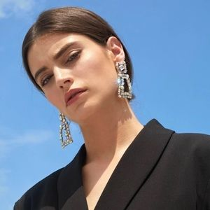 Zara Gemstone engraved geometric drop earrings